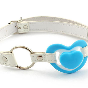 BDSM ball gag - DDLG blue heart gag with adult pacifier/ dummy. Keep your little quiet with our pacifier gag!
