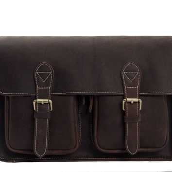 BLUESEBE MEN HANDMADE DISTRESSED LEATHER CROSSBODY MESSENGER BAG 6915