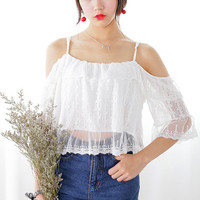 White Embroidered Top with Cutout Sleeves