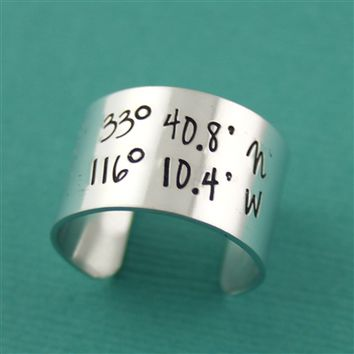 1/2 Inch Latitude & Longitude Adjustable Ring - Spiffing Jewelry