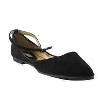REFRESH JULIA-03 Women's flat bottom Dorsey cut pump with suede upper and ankle strap