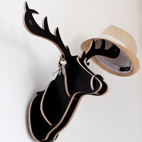 Wooden Deer hanger for coat hat scarf tie bag by DreamTreeFruits
