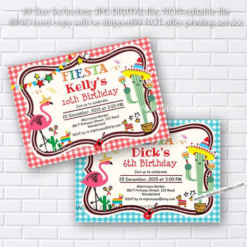 Mexican Fiesta Birthday invitation, Fiesta Party Birthday Invitation for any age, Whimsical design Colorful Festive birthday - card 478