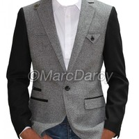 Mens designer Grey slim fit blazer coat jacket with black sleeves (BP3)