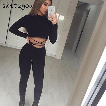Skitzyou Black Sexy Bodycon Long Sleeve Jumpsuit Autumn Rompers Women 2 Pieces Jumpsuit Long Sleeve Club Overalls Party Palysuit