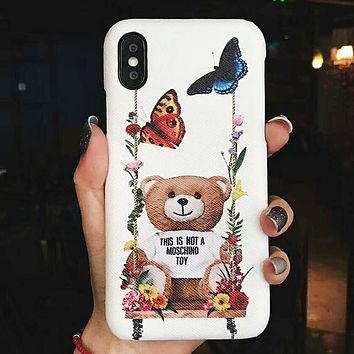 Moschino Fashion New Bear Floral Butterfly Women Men Protective Cover Phone Case White