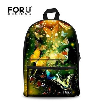 School Backpack New Colorful Casual Butterfly Print School Bag For Girls Canvas Women Travel Bookbag Middle Student Schoolbag Mochila Kids AT_48_3