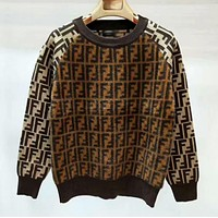 Fendi New fashion more letter long sleeve top thick keep warm sweater women Coffee