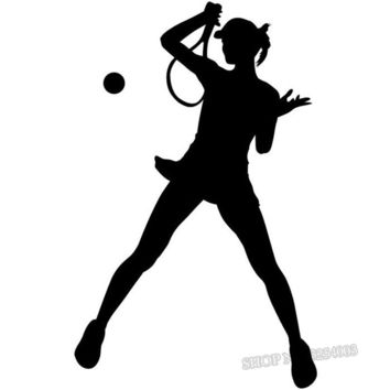 Female Tennis Player Silhouette Wall Decals Sports Girls Room Tennis Vinyl Wall Stickers Gym Sport Decor Art Decal Bedroom L024
