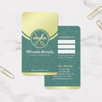Makeup Salon Green & Gold Scissor Comb Appointment Business Card