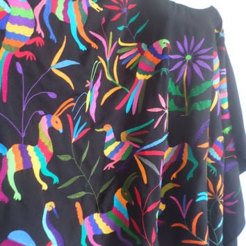 SOLD Made-to-Order Plus Size Hand embroidered Poncho Black, multicolor, authentic #Otomi designs. One size fits all