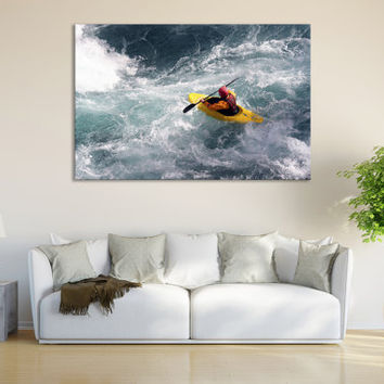 Water Sports Canoe Wall Fine Art Print / Boys Room Wall Decor Kayak Paddle Canoe Print Large Wall Art Decor Canvas Print