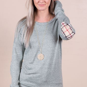 Plaid Elbow Patched Top- 4 Options