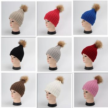 BONJEAN 14 Colors warm crochet winter hats for women's hats caps knitted fur pompons beanies bonnet femme girls red gray black