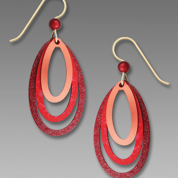 Adajio Earrings - Rich Red and Copper Three Layered Ovals