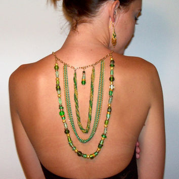 Irish Wedding Backdrop Necklace Set, Green and Gold Irish Gypsy Style with matching earrings and bracelet