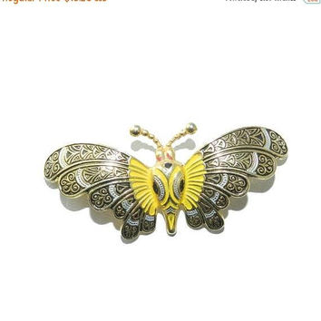 PRIME DEALS Toledoware Brooch Pin, Spanish Butterfly Brooch, Butterfly Jewelry, Vintage Jewellery, Toledo Jewelry, Excellent Condition