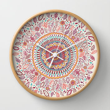 Sunflower Mandala Wall Clock by Janet Broxon