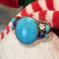 Turquoise Ring Lapis Lazuli Mother of Pearl MOP Vintage Ring Sterling Silver 925 Southwestern Western Gemstone Gem  Statement Ring BOHO