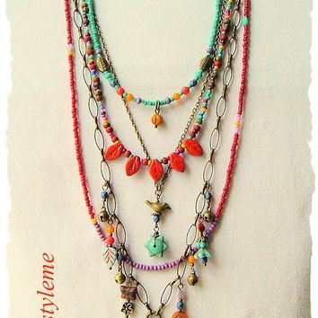 Boho Colorful Jewelry, Autumn Leaves, bohostyleme Jewelry, Handcrafted Layered Necklace, Modern Hippie, Kaye Kraus