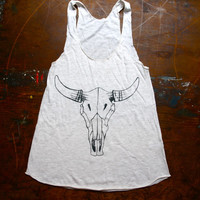 Tri blend Racer Back Tank Top, Cow skull Print , Women's tri-bled oatmeal Tank, Screenprinted, Women's clothing, Adult Tshirt