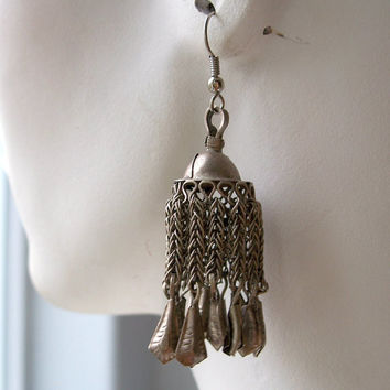 Vintage Ethnic Silver Tassel Earrings,Dangle Earrings,Silver Dangling Earrings,Tassle Earrings,Unusual Earrings,Chain Earrings,Belly Dancing