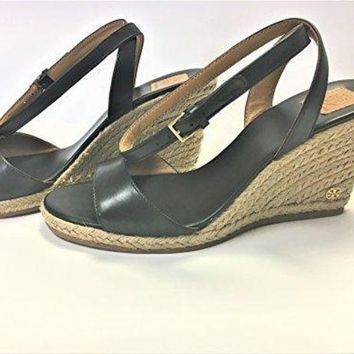 ONETOW Tory Burch 40022 Landon Wedge Espadrille Ankle Strap Sandal -Black, Size 7