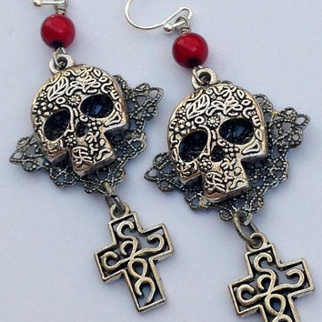 Sugar Skull Earrings - Skull and Cross - Day of the Dead Jewelry - Horror Jewelry - Gothic Jewelry - Halloween Jewelry - Cross Earrings