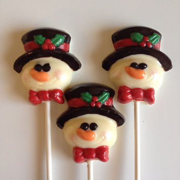 24 Frosty the Snowman Chocolate Lollipop Favors Homemade
