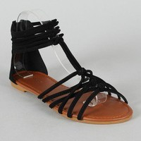 Bamboo Morris-40 Knotted Open Toe Flat Sandal