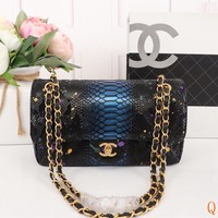 HCXX 19Sep 494 Fashion Simple Python Pattern Chain Crossbody Pouch Flap Shoulder Baguette Bag 25-15-7cm