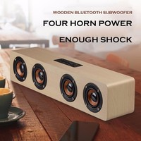 High-power Wooden Bluetooth Speaker With Four Horns Support Hands-free