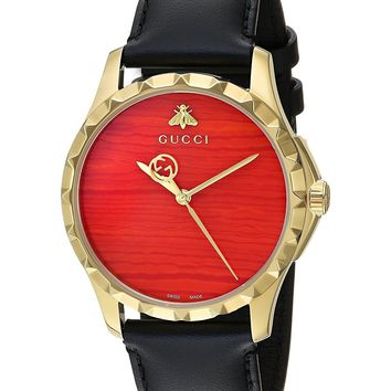 Gucci Swiss Quartz Gold-Tone and Leather Dress Black Men's Watch(Model: YA126464)