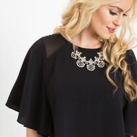 Rory Black Ruffle Cropped Top