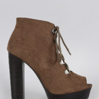 Women's Qupid Suede Peep Toe Lace Up Bootie