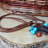 Turquoise Copper Necklace Pendant Necklace Simple Gemstone Bead Necklace Copper Natural Stone Beads Necklace Trending Necklace Gift for her