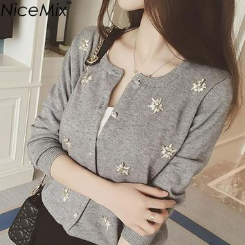 NiceMix Cardigan Women Knitted Sweater Hand Beading Sequined Patch Sweaters Sweet Women Cardigans 2017 Autumn Pull Femme Hiver