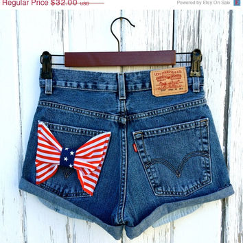 High waisted denim shorts Levis distressed shorts - Levis with American Flag bow- ALL Sizes