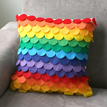 rainbow felt circles pillow cover - handcut scales, ecofriendly felt fabric, decorative pillow cover, modern pillow or cushion