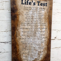 Sign wall Lifes Test home decor rustic shabby chic wall hanging primitive farm house cottage barn vintage antique looking distressed aged