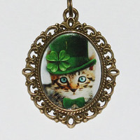 Irish Cat St. Patrick's Day Pendant Necklace