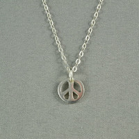 Tiny Peace Sign Necklace, 925 Sterling Silver, Modern, Simple, Delicate, Everyday Wear Necklace