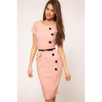 Pink Fashion Slimming Midi Dress with Buttons