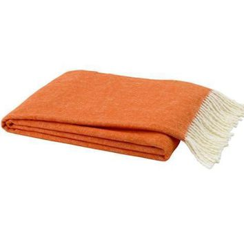Italian Herringbone Throw | Tangerine