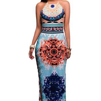 Chicloth Light Blue African Pattern Low Back Halter Maxi Dress