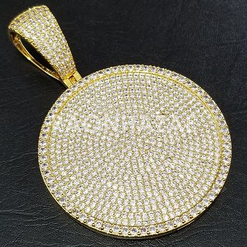 New Lab diamond Micro Pave JUMBO Medallion Pendant.