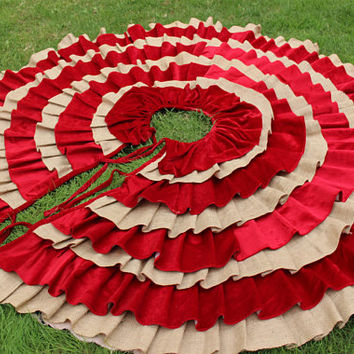 Burlap Tree Skirt Ruffle Tree Skirt Christmas Tree Skirt EXPRESS Shipping
