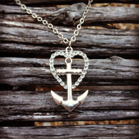 Silver Heart and Anchor Necklace