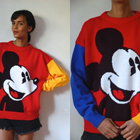 Vtg Mickey Mouse Knit Color Block Red Yellow Blue Retro Sweater