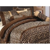 Grand Linen 5 Piece Safari-Zebra-Giraffe Print Micro Fur Comforter Set, Bed in Bag, Twin, Brown